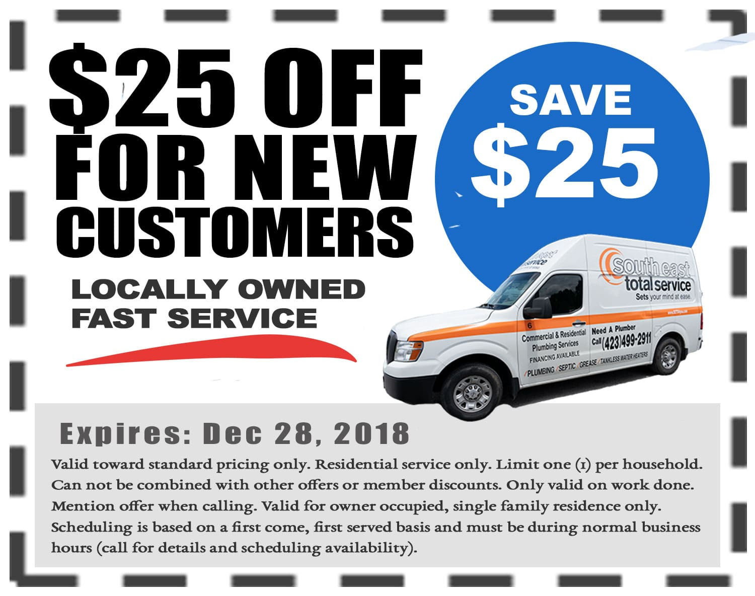 25 dollars off plumbing service new customers